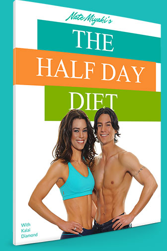 "Front cover of Nate Miyaki's book ""The Half Day Diet"" showing him and his wife to show Why You Should Only ""Diet"" for Half the Day"